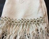 Antique  Off White Monogrammed C Towel with Fringe