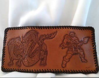 Dragon and Barbarian Trifold Leather Wallet