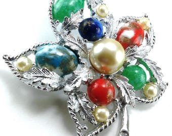 Vintage Brooch Maple Leaf Interesting Colored Accents Silver Tone Textured Metals Signed Sarah Coventry from their 1967 Fantasy Line