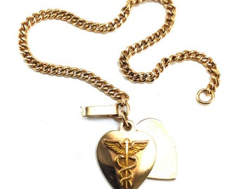 Medic Alert Bracelet 1/20 12k Gold Heart Charms Blanks Ready For Personalized Engraving Caduceus Motif Genuine Vintage Jewelry