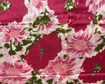 Vintage New/Old Stock Fabric rayon silk taffeta Large Oversized Floral Print pink/crimson 3 yards