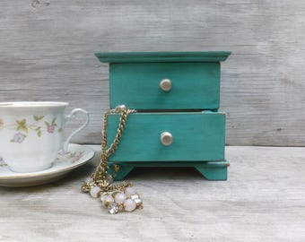 Small Upcycled Jewelry Box Painted Green