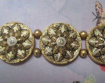 Damascene Bracelet,  Vintage Jewelry,  Gold And Silver Pattern