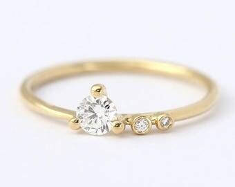 ON SALE Engagement Ring, Asymmetric Diamond Ring, Round Diamond Ring, Minimalist Diamond, Delicate Engagement Ring, Round Cut Diamond, Gold
