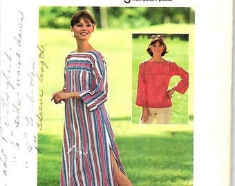 ON SALE VTG Misses Hippie Tunic & Caftan Pattern, Jiffy Simplicity 6890 , Size 8-10