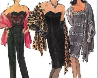 ON SALE Vogue 8485 Misses/ Miss Petite Boned, Strapless Dress And Top And Stole Pattern, 6-8-10,  UNCUT