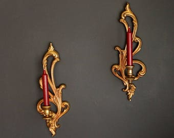 Vintage Wall Sconce Ornate Candle Holder Pair by Syroco Inc Mid Century Hollywood Regency Wall Hanging Set 2336R 2336L