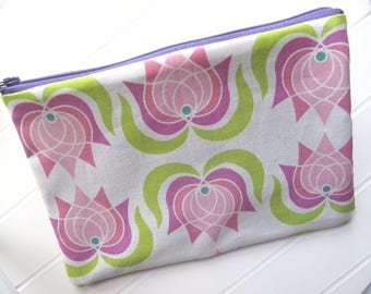 Pouch Makeup organizer Cosmetic case with Lotus Flowers
