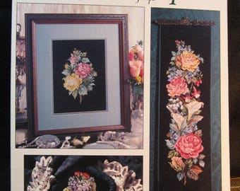 Heirloom Bouquets, Leisure Arts 2125 from 1991, by Donna Vermillion Giampa, three gorgeous flower arrangements in counted cross stitch