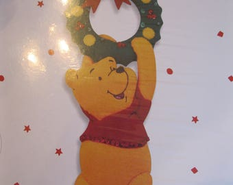 "Pooh Door Knob Cover, stamped felt applique kit, Bucilla 84170 from 1999, finished size 4"" X 11"", sequins, needle, floss, directions, felt"