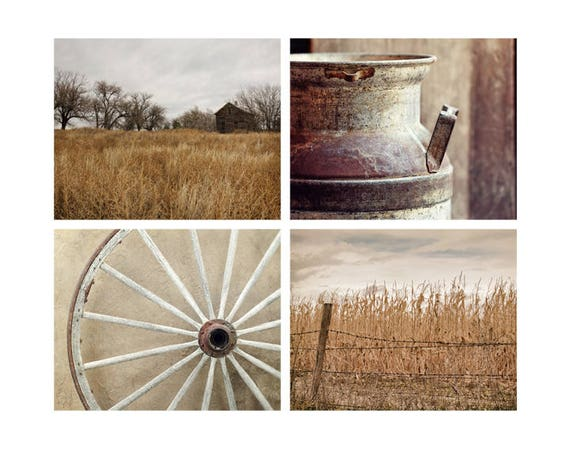 Rustic Wall Decor Set : Farmhouse wall decor rustic set of photographs country home
