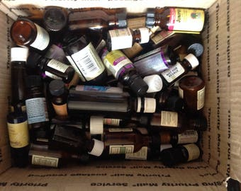 6 Pound Box of Used Empty Essential Oil Amber Glass Bottles Various Sizes For Aromatherapy Lets Recycle