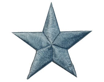 ID 3438 Blue Star Patch Symbol Space Night Sky Embroidered Iron On Applique