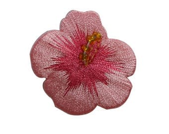 ID 6318 Pink Beaded Hibiscus Flower Patch Garden Embroidered Iron On Applique