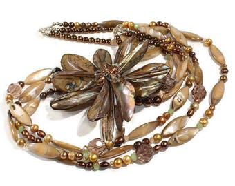 Necklace Mother of Pearl Necklace Crystal Topaz Brown Necklace Beaded Necklace Handmade Necklace Special Necklace Jewellery Flower