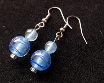 Blue Glass Bead Dangle Earring