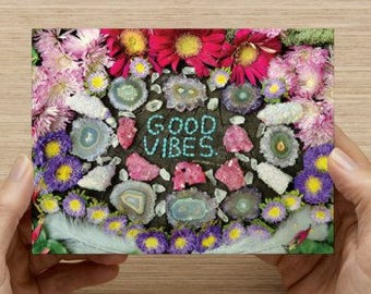 GOOD VIBES  - POSTCARDS - set of 10 - Original Crystal art high quality color print - mantra card good vibes