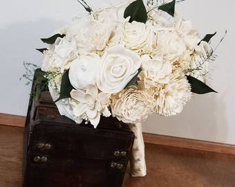 Wedding Bouquet, Ivory Sola wood Bouquet, Wood Bouquet, Bridal Bouquet, Sola flowers, Bouquet, Handmade