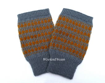 Wool fingerless gloves,men's fingerless gloves,Scandinavian gloves,gray wrist warmers, wool hand warmers,fashion accessories,Christmas gift
