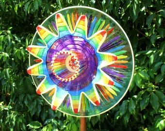Colorful Glass Garden Art, Garden Decorations - Outside Decor - hand painted glass flower- Glass plate flower - housewarming gift
