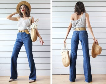 70s Vintage blue cotton denim brown leather fitted high waist bell bottom raw hem boho workers flares jeans pants XS