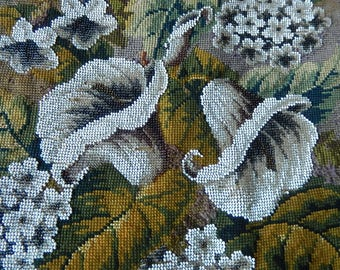 Antique bead work needlepoint shield panel arum lilies glass steel beads firescreen decorative pillow framing re-work projects