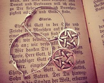 Petites créoles argentées ☥ 666 Pentagram ☥