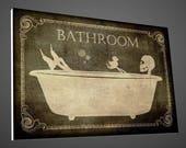 skeleton bathroom sign,bathroom sign,bathroom Décor,skeletons sign,skulls signs,home Décor,bathroom art,Bath Decor,Signs,vintage signs