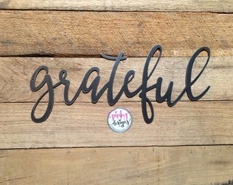 Grateful Metal Sign | 2 FT | Grateful Sign | Metal Grateful Word | Gallery Wall Decor | Grateful Metal Word | Grateful