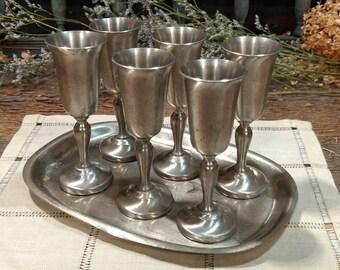 Vintage Preisner Pewter Demitasse Goblets / Mini Goblets with Serving Tray / Set of Six / Cordial Size / 2032