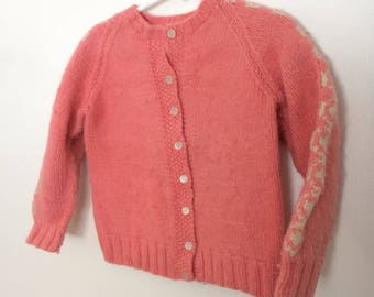 Vintage pink girl's cardigan sweater handmade size 4T