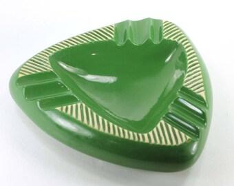 Vintage Green Ashtray Triangle Ceramic