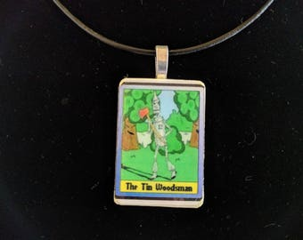 The Tin Woodsman of OZ game tile pendant on black leather necklace cord Original Artwork