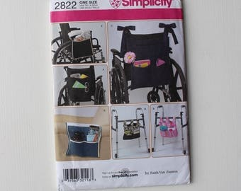 Simplicity 2822 Wheelchair Accessories, New Sewing Pattern, Fabric Pattern, Uncut Pattern, Disability Aid Pattern