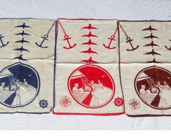 Vintage 1940s Kitchen Mid Century Modern WW11 Patriotic Navy Sailor Nautical Linen Tea Dish Towel Set- Anchors Away - French Cottage Kitchen