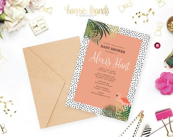 Pink Flamingo Baby Shower Invitation // Baby Girl // Coral, Polka Dot, Tropical Invitation // CUSTOMIZED // PRINTABLE