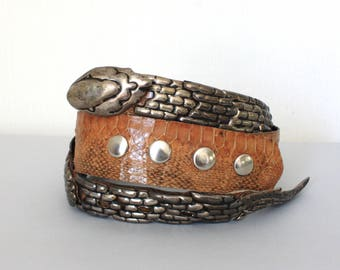 Vintage 80's Python Snakeskin Leather Belt Western Cowboy Boho Silver Snake Shaped Buckle Adjustable
