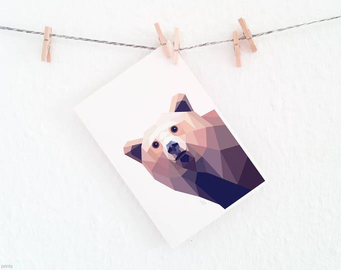 Brown bear print, Minimal bear, Grizzly bear illustration, American wildlife, Kids wall art, Geometric bear, Bear wall decor, Nursery art