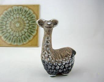 Vintage Pottery Llama Figurine, Vintage Stoneware Animal, Earthenware Statue, Artesania Rinconada