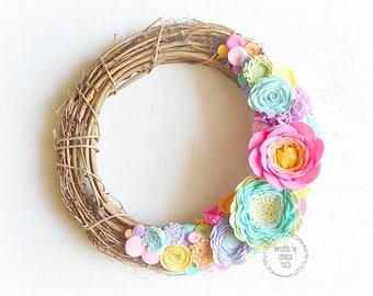 Rainbow Wreath Grapevine Wreath Felt Flower Wreath Rainbow Felt Flowers Grapevine Decor Wreath Decor Craft Room Home Decor Door Wreath