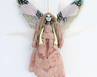 Day of the Dead fairy, handmade peg doll ornament, horror goth decoration, OOAK