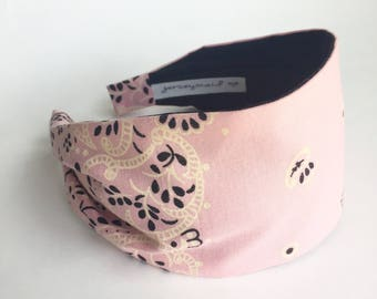 Cute unique pink Vintage cotton bandana made in usa bandana headband recycled repurposed upcycled cute pink hairband Valentine's Day