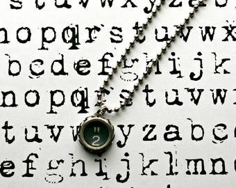 Vintage 1940s Upcycled Typewriter Key Necklace-Number 2 -Unisex Jewelry-Technology Geeks-by OldTimeVintageFinds