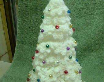 Crocheted white table top desktop tree with tiny shiny balls