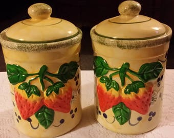 Vintage Porcelain China Canisters Strawberry Decor Set of Two