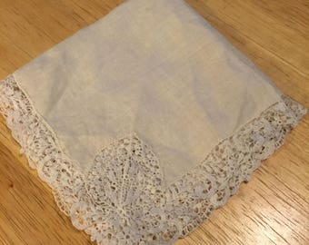Linen and Lace Bridal Handkerchief