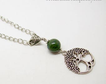 Tree Of Life Necklace - Tree Of Life Pendant - Moss Agate - Silver Tree Of Life Necklace - Nature Jewelry - Druid Necklace - Tree Necklace