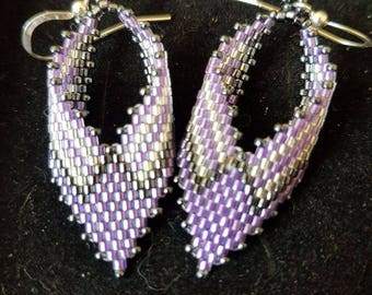 Lilac and silver Russian leaf earrings