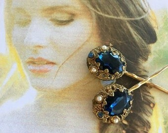 1stDayofSummerSALE Decorative Hair Pins Jewelry 1940's Bridal Renaissance Deep Marine Blue Filigree Hairpins Bobby Pins