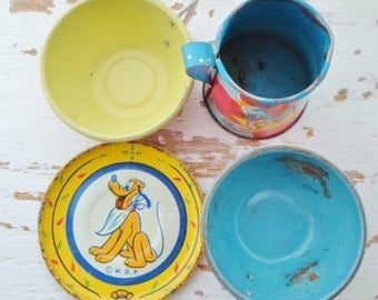 ON SALE Vintage J. Chein & Co. Walt Disney Productions Pluto Tin Litho Plate,  Toy Pitcher, Tea Cups, 50s, Toy, Play Dishes, Child Toy, Misc